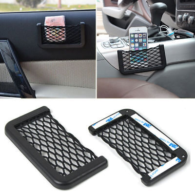 1pcs Black Auto Car Storage 150mm*80mm Mesh Resilient String Bag Holder Pocket