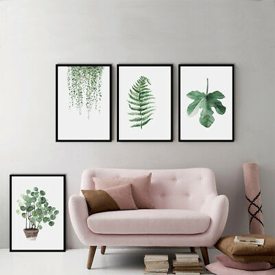 Home DIY Decor Green Plant Canvas Art Print Poster Leaf Painting Wall Pictures