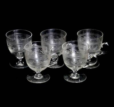 Antique exquisite set of 5 Victorian etched glass custard cups