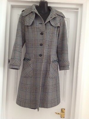 Vintage West German 60s 70s Cream Blue Black Checked Pattern Fitted Wool Coat 10