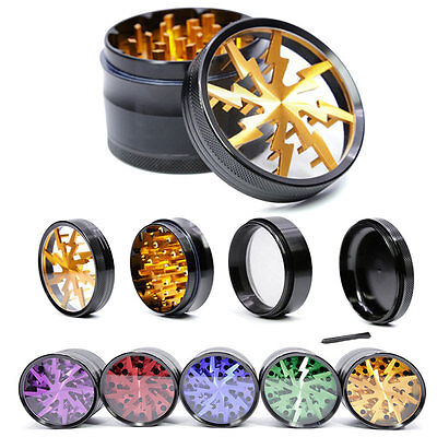 4 Piece Tobacco Herb Grinder Spice Herbal Alloy Smoke Crusher  Metal Chromium