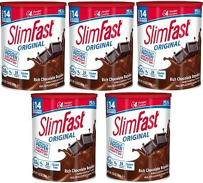 SlimFast Nutrition Meal Replacement Chocolate Shake Weight Loss 12 Oz (5 Boxes)