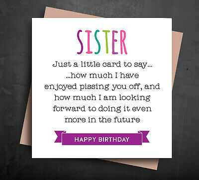 FUNNY BIRTHDAY CARD For Sister From Brother Naughty Rude Pssing You