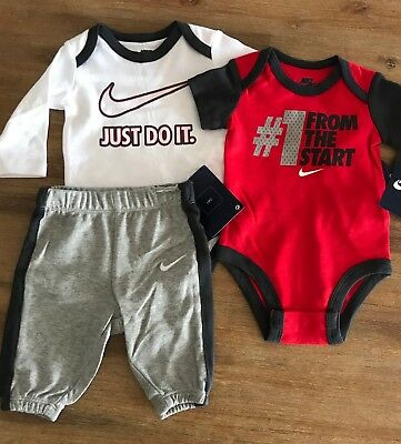 NEW Baby Boys Nike #1 Set Pants Jumpsuit Bodysuit Red Grey 0 3 6 9 12 0000 000 0