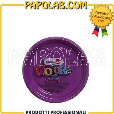 50 Piatti Di Plastica Colorati Dopla Colors Ø17 Viola Feste Party Compleanno
