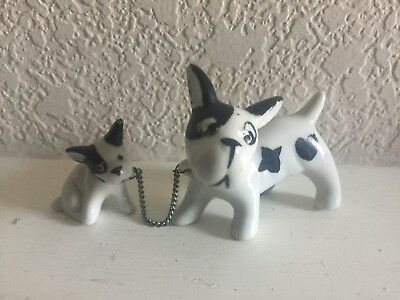 Adorable Vintage Boston Terrier Dog w/ Pup Figurine