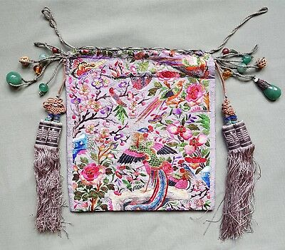 Beautiful vintage Chinese Silk Purse with Jade pendants etc