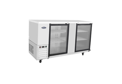 "New Stainless 69"" 2 Glass Door Back Bar Beer Cooler Free Shipping & Lift Gate"