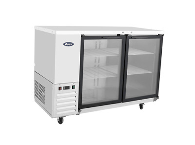 "New Stainless 58"" 2 Glass Door Back Bar Beer Cooler  Free Shipping & Lift Gate"