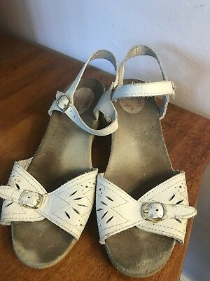 Vintage White Sandals, Size 7, Made In Spain Ankle Strap Wedge Open Toe (sn416)