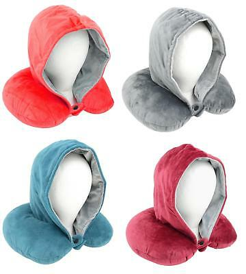 Adults Luxury Super Soft Feel Hooded Travel Pillow / Neck Pillow