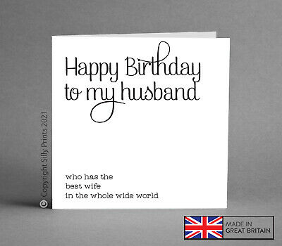 FUNNY BIRTHDAY CARDS husband from best wife greetings card cheeky