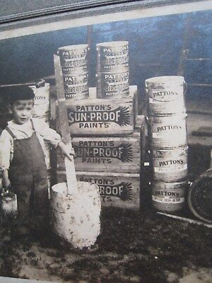 VTG Store Advertising Child w Paint Bucket CABINET CARD Photo Sun-Proof Paint