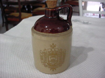 """Vintage US Naval Academy 5"""" Tall Little Brown Jug Made by USA Pottery"""
