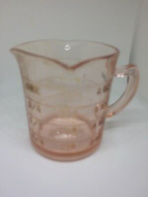 Vintage Kellogg's Pink Depression Glass Measuring Cup ,plus Pink Candy Dish