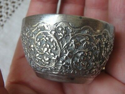 Vintage Indian Silver Small Bowl Anglo Indian Raj Highly Decorated