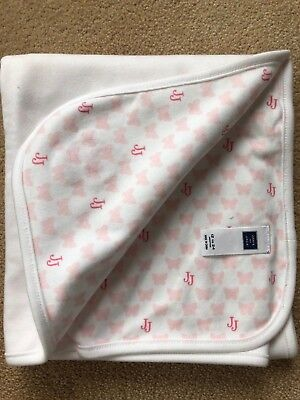Janie and Jack Pink and White Receiving Blanket Butterfly Pattern