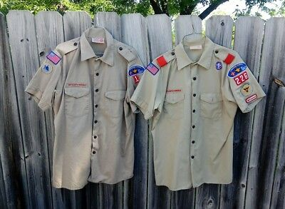 (2)Boy Scouts of America Short Sleeve Buttoned Shirt Mens Large with Patches