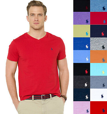 NEW Men Polo Ralph Lauren V-Neck T Shirt Size S M L XL XXL - STANDARD FIT
