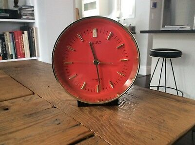 Mid Century Modern Vintage Red & Gold Seiko Desk Table Clock