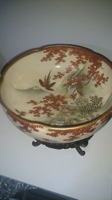 Meiji pd. 19th century 10-inch Japanese Satsuma Lobed Bowl Very Rare