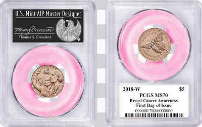 2018-W $5 Gold Breast Cancer ROSE GOLD PCGS MS70 First Day of Issue Cleveland