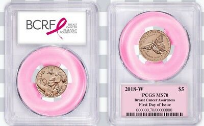 2018-W $5 Gold Breast Cancer ROSE GOLD PCGS MS70 First Day of Issue RIBBON LABEL