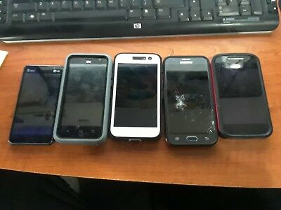 Broken/Cracked Cell Phones For Parts Lot of 5