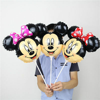 10pcs/Lot Christmas Mickey Mouse Head Balloons Foil Minnie Stick Birthday Party