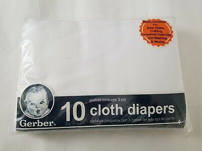 Gerber Prefold Birdseye Baby Infant Cloth Diapers, White Pack of 10