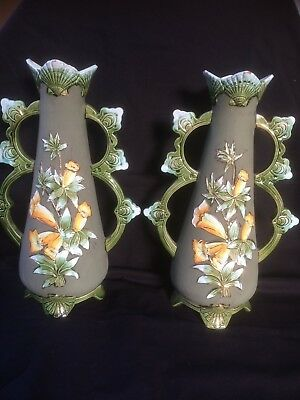 antique Jugendstil  french pair of vases . Marked bottom