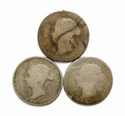 Lot of 3 1872, 1883, & 1888 Canada Silver 25c Quarters #118590