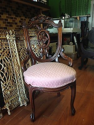 Antique Victorian Walnut Desk Chair or Side Chair Lovely Sturdy Condition