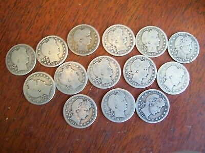Barber Quarters  Many Different Dates  Nice Lot!!of 14