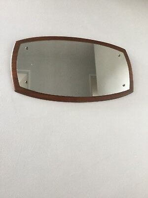 Vintage mid century retro 60s teak curved wall mirror in the G Plan style