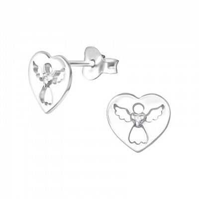 925 Sterling Silver  CZ Crystal Angel Faith Hope Stud Earrings & Gift Box #2