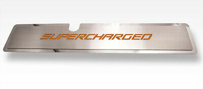 "Radiator Cover with Orange Carbon Fiber ""SUPERCHARGED"" For 2015-2017 Mustang GT"