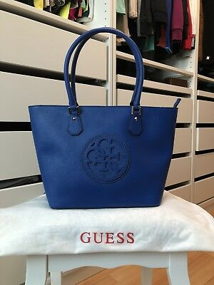 guess tasche handtasche blau shopper schultertasche tote. Black Bedroom Furniture Sets. Home Design Ideas