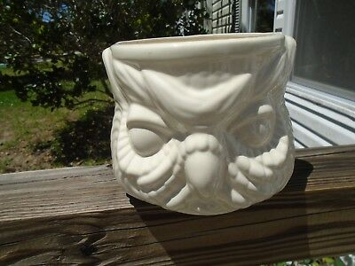 "Vtg Owl Planter  All White        5 1/2"" Tall And 5 1/4""opening"