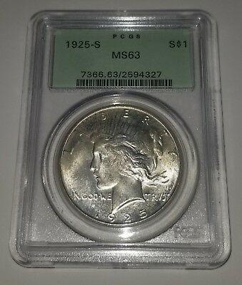 1925-S Peace Dollar PCGS MS 63 ~~ Gorgeous Specimen ~~ (OGH) Old Green Holder