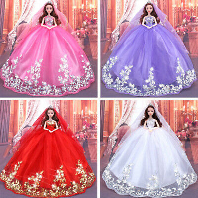Handmade Sequins Wedding Party Dress Clothes Gown With Veil For Barbie Dolls TK