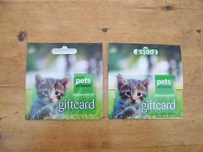 Pets at Home gift credit vouchers, cards, 2 with total value £84.00