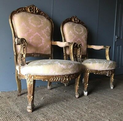 Pair Of Antique Gilt Louis XVI French Carved Arm Chairs Victorian 19th Century
