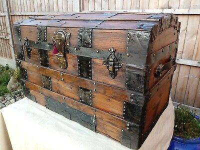 vintage old antique domed pirates chest wooden chest travel trunk coffee table