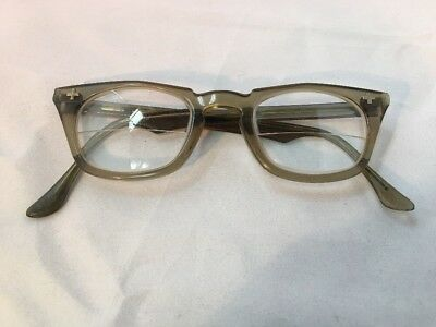 Vintage Bausch & Lomb Safety Glasses Glass Lens Translucent Olive Green Frame