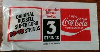 Vintage Coca Cola Russell Pack Of 3 YoYo Strings From 1980's