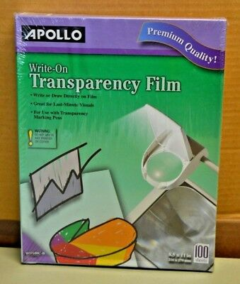 Apollo Write-On Transparency Film Wo100C-B, 100 Sheets, 8.5 X 11, Clear, New!