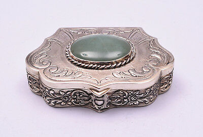 Beautiful Sterling Silver Box With A Great Jadeite Stone