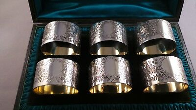 Superb Cased Set of Six Antique Sterling Silver Napkin Rings London 1896