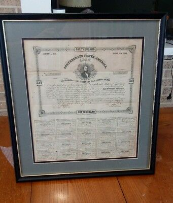 1863 Civil War Confederate States  $1000 Bond Sheet Complete- 20 Coupons